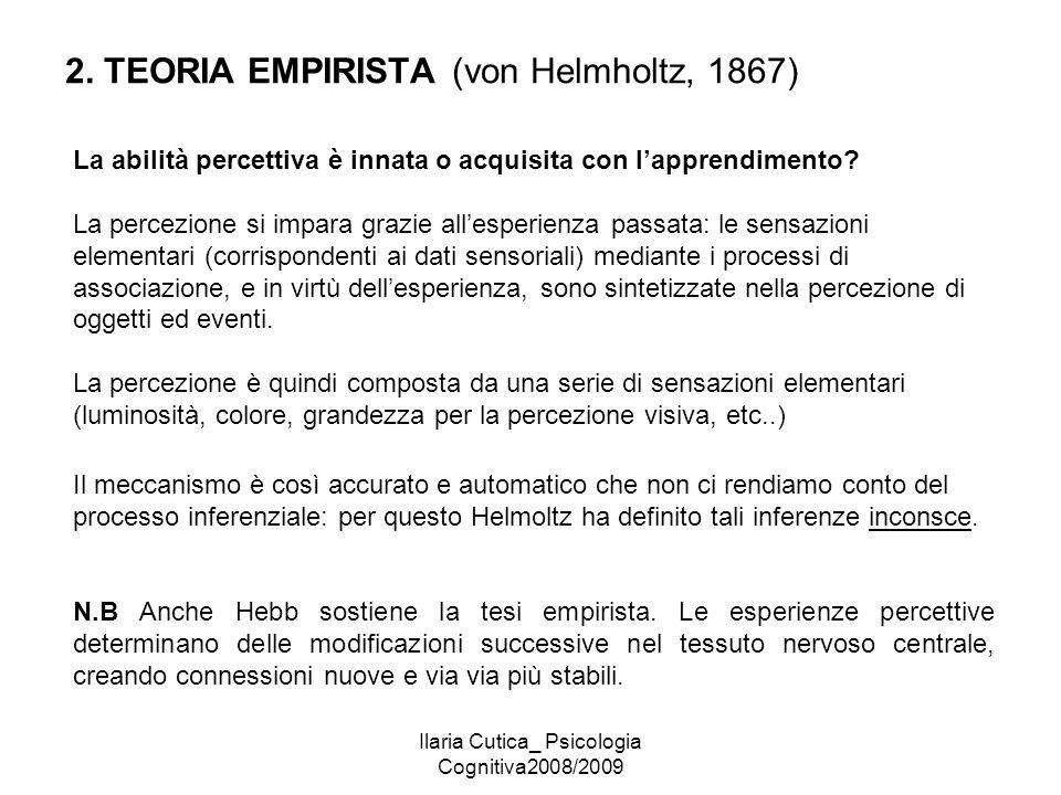 Ilaria Cutica_ Psicologia Cognitiva2008/2009 2. TEORIA EMPIRISTA (von Helmholtz, 1867) La abilità percettiva è innata o acquisita con l'apprendimento?
