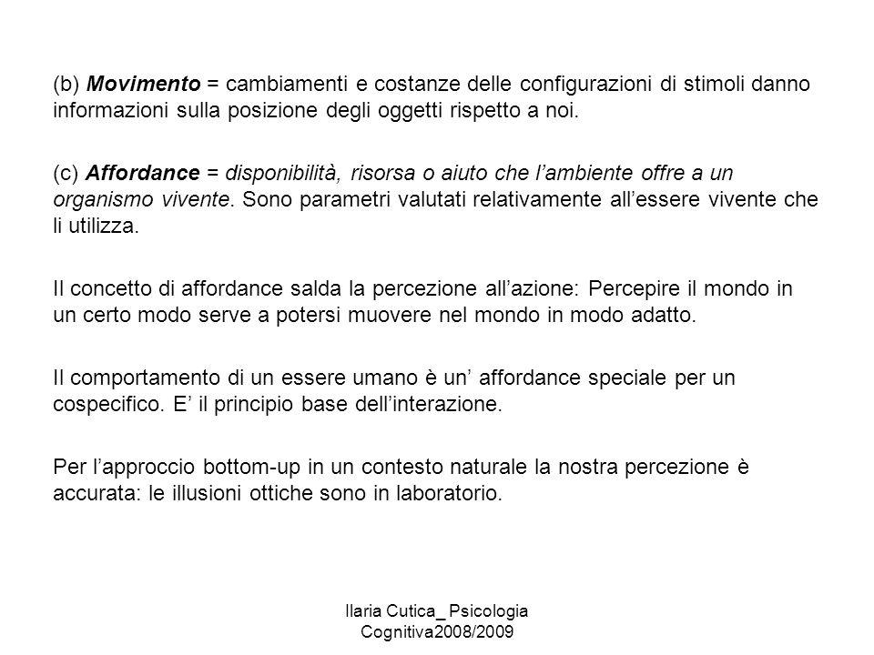 Ilaria Cutica_ Psicologia Cognitiva2008/2009 (b) Movimento = cambiamenti e costanze delle configurazioni di stimoli danno informazioni sulla posizione