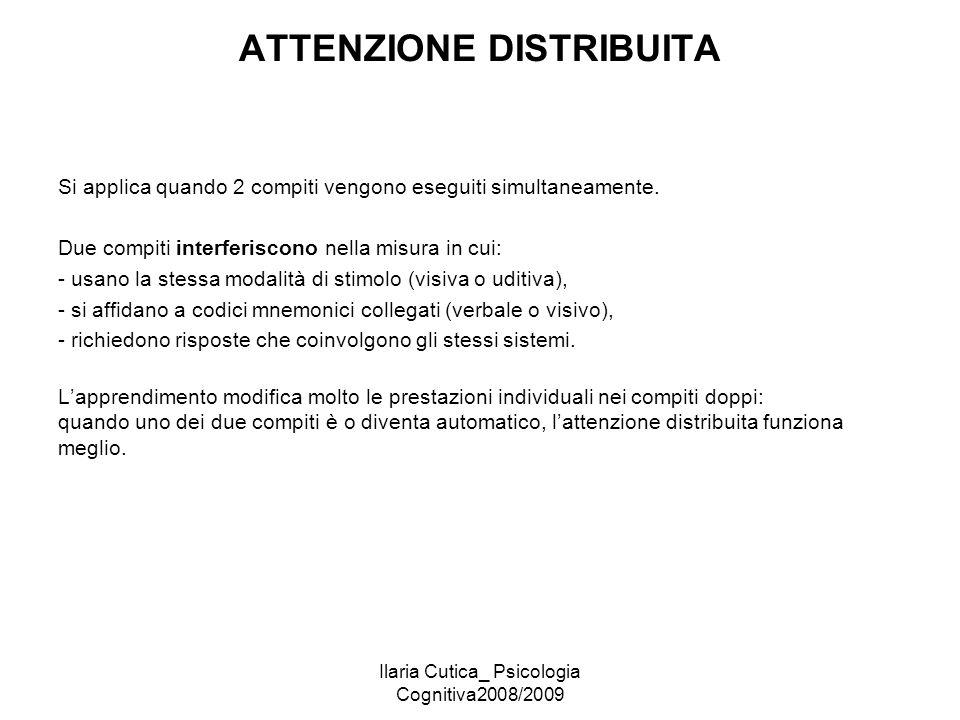 Ilaria Cutica_ Psicologia Cognitiva2008/2009 ATTENZIONE DISTRIBUITA Si applica quando 2 compiti vengono eseguiti simultaneamente. Due compiti interfer