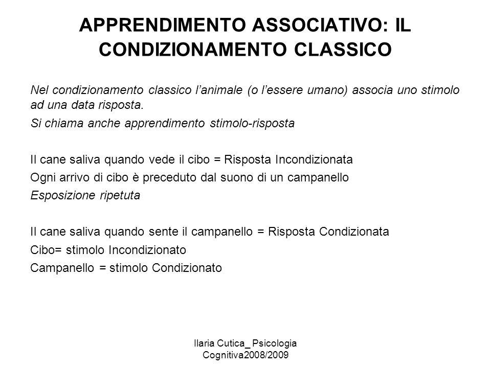 Ilaria Cutica_ Psicologia Cognitiva2008/2009 APPRENDIMENTO ASSOCIATIVO: IL CONDIZIONAMENTO CLASSICO Nel condizionamento classico l'animale (o l'essere