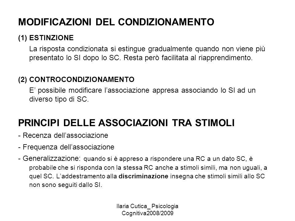Ilaria Cutica_ Psicologia Cognitiva2008/2009 MODIFICAZIONI DEL CONDIZIONAMENTO (1) ESTINZIONE La risposta condizionata si estingue gradualmente quando