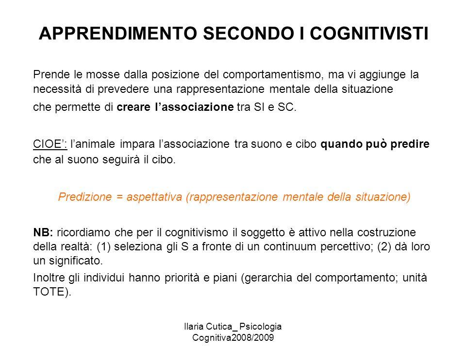 Ilaria Cutica_ Psicologia Cognitiva2008/2009 APPRENDIMENTO SECONDO I COGNITIVISTI Prende le mosse dalla posizione del comportamentismo, ma vi aggiunge