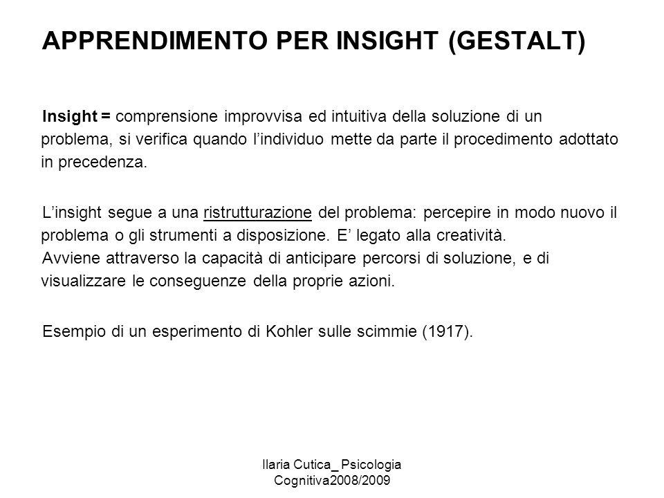 Ilaria Cutica_ Psicologia Cognitiva2008/2009 APPRENDIMENTO PER INSIGHT (GESTALT) Insight = comprensione improvvisa ed intuitiva della soluzione di un