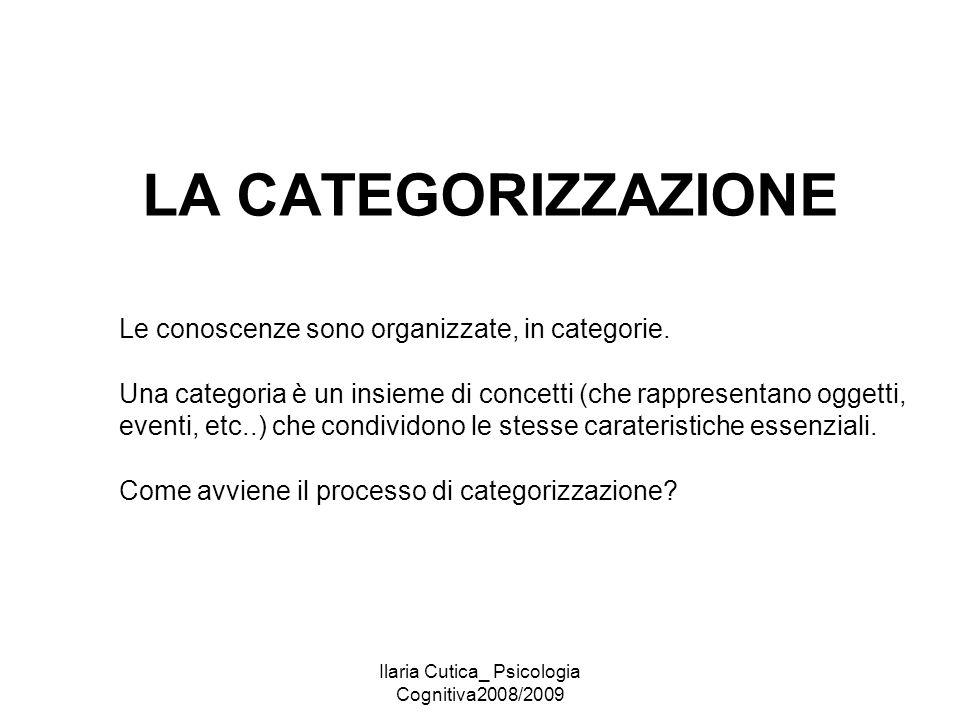 Ilaria Cutica_ Psicologia Cognitiva2008/2009 LA CATEGORIZZAZIONE Le conoscenze sono organizzate, in categorie. Una categoria è un insieme di concetti
