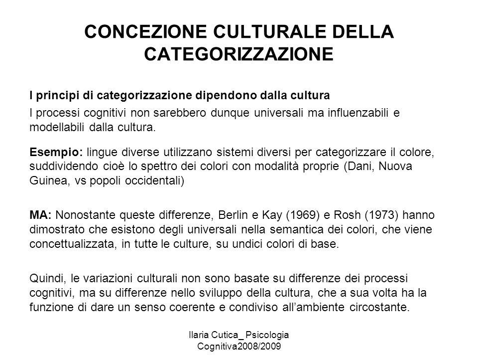 Ilaria Cutica_ Psicologia Cognitiva2008/2009 CONCEZIONE CULTURALE DELLA CATEGORIZZAZIONE I principi di categorizzazione dipendono dalla cultura I proc