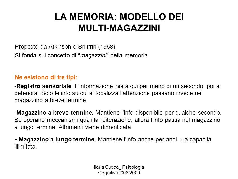 Ilaria Cutica_ Psicologia Cognitiva2008/2009 LA MEMORIA: MODELLO DEI MULTI-MAGAZZINI Proposto da Atkinson e Shiffrin (1968). Si fonda sul concetto di