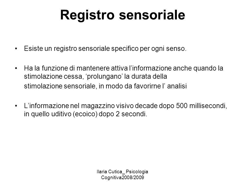 Ilaria Cutica_ Psicologia Cognitiva2008/2009 Registro sensoriale Esiste un registro sensoriale specifico per ogni senso. Ha la funzione di mantenere a