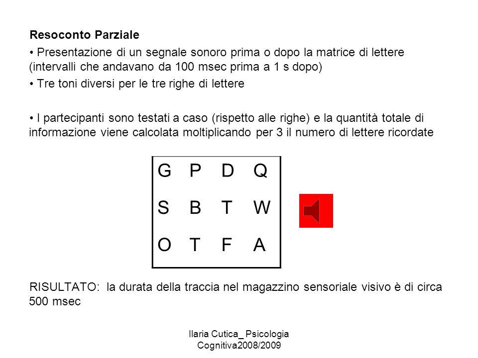 Ilaria Cutica_ Psicologia Cognitiva2008/2009 Resoconto Parziale Presentazione di un segnale sonoro prima o dopo la matrice di lettere (intervalli che