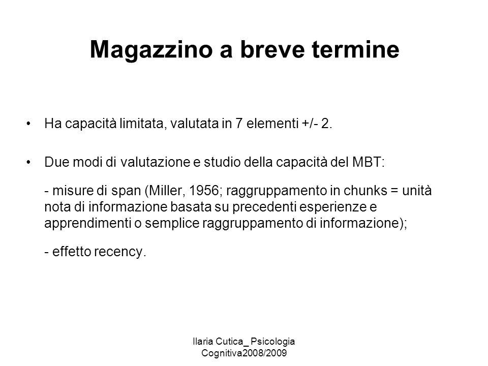 Ilaria Cutica_ Psicologia Cognitiva2008/2009 Magazzino a breve termine Ha capacità limitata, valutata in 7 elementi +/- 2. Due modi di valutazione e s