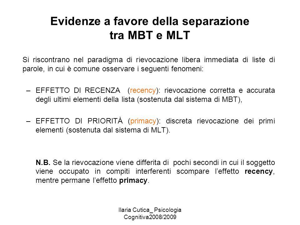 Ilaria Cutica_ Psicologia Cognitiva2008/2009 Evidenze a favore della separazione tra MBT e MLT Si riscontrano nel paradigma di rievocazione libera imm