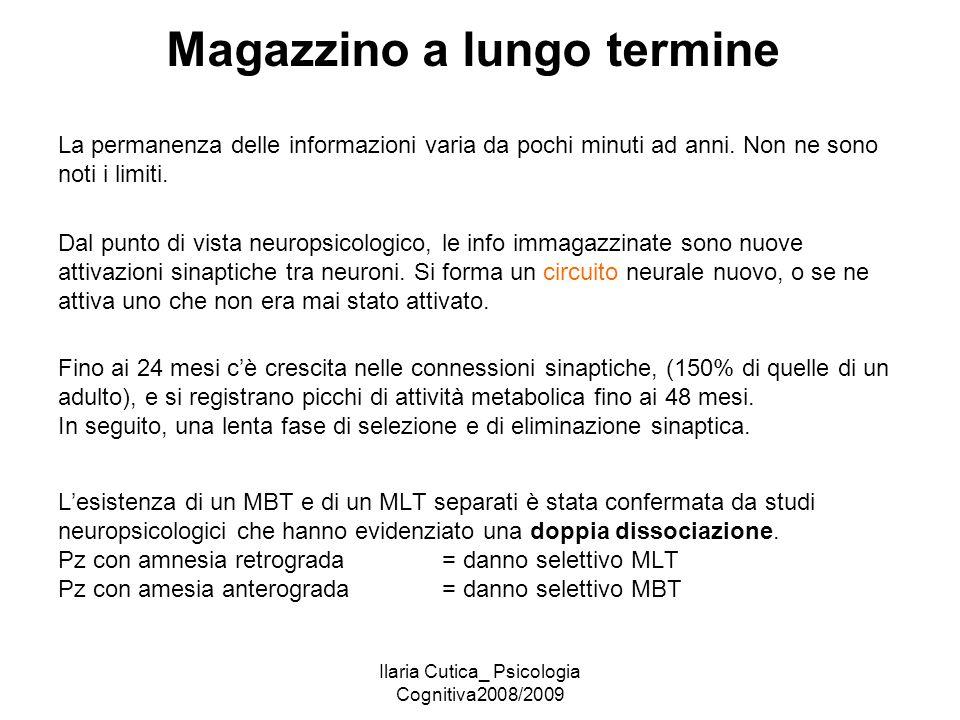 Ilaria Cutica_ Psicologia Cognitiva2008/2009 Magazzino a lungo termine La permanenza delle informazioni varia da pochi minuti ad anni. Non ne sono not