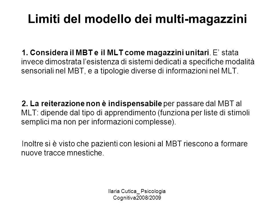 Ilaria Cutica_ Psicologia Cognitiva2008/2009 Limiti del modello dei multi-magazzini 1. Considera il MBT e il MLT come magazzini unitari. E' stata inve
