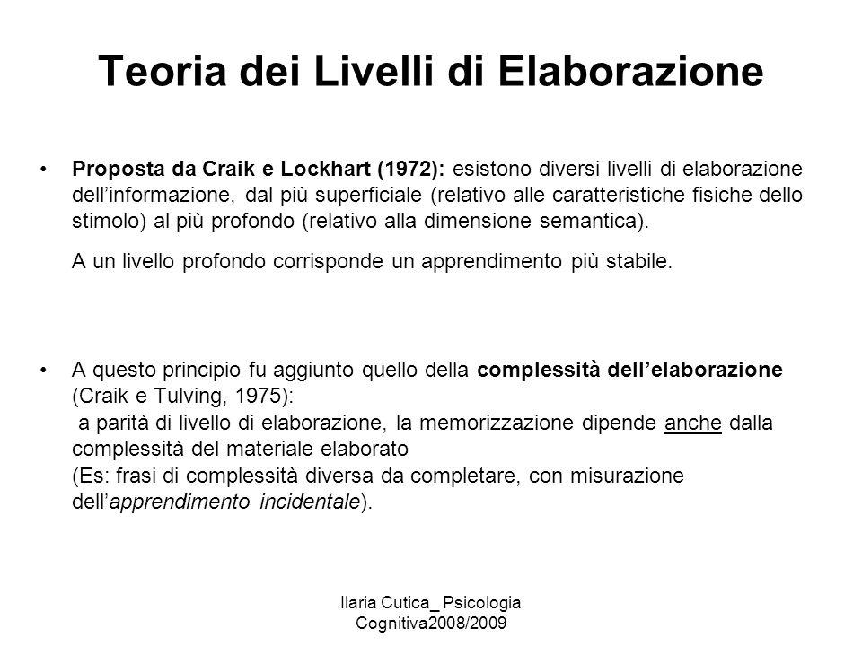 Ilaria Cutica_ Psicologia Cognitiva2008/2009 Teoria dei Livelli di Elaborazione Proposta da Craik e Lockhart (1972): esistono diversi livelli di elabo