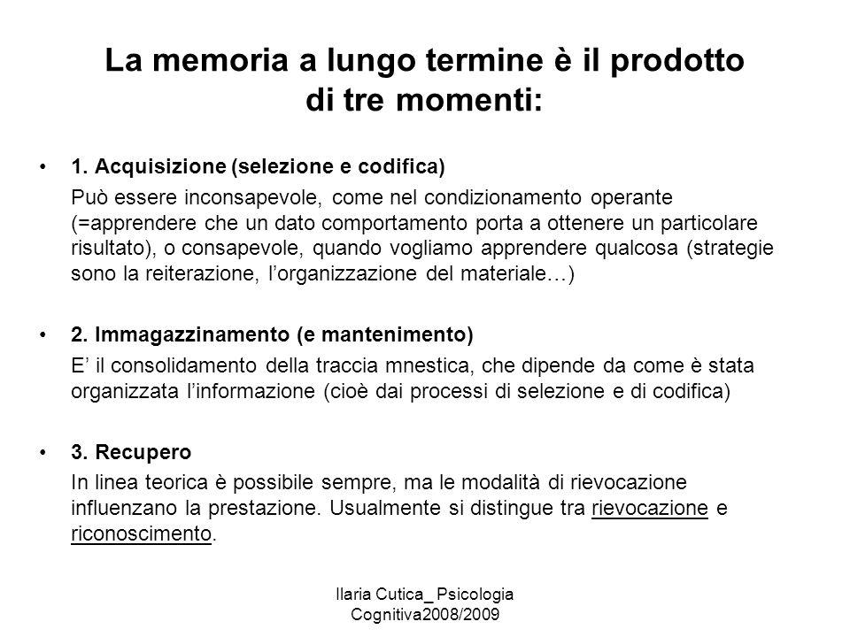 Ilaria Cutica_ Psicologia Cognitiva2008/2009 La memoria a lungo termine è il prodotto di tre momenti: 1. Acquisizione (selezione e codifica) Può esser
