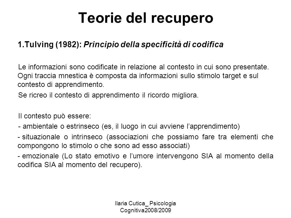 Ilaria Cutica_ Psicologia Cognitiva2008/2009 Teorie del recupero 1.Tulving (1982): Principio della specificità di codifica Le informazioni sono codifi