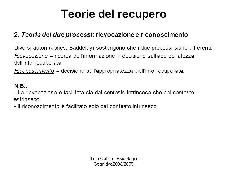 Ilaria Cutica_ Psicologia Cognitiva2008/2009 Teorie del recupero 2. Teoria dei due processi: rievocazione e riconoscimento Diversi autori (Jones, Badd