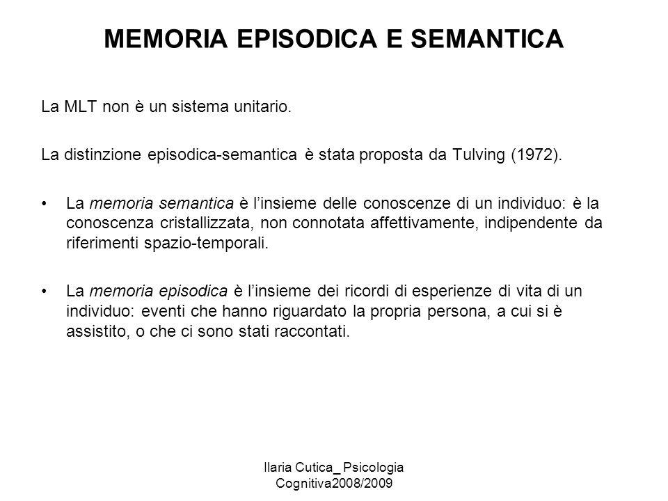 Ilaria Cutica_ Psicologia Cognitiva2008/2009 MEMORIA EPISODICA E SEMANTICA La MLT non è un sistema unitario. La distinzione episodica-semantica è stat