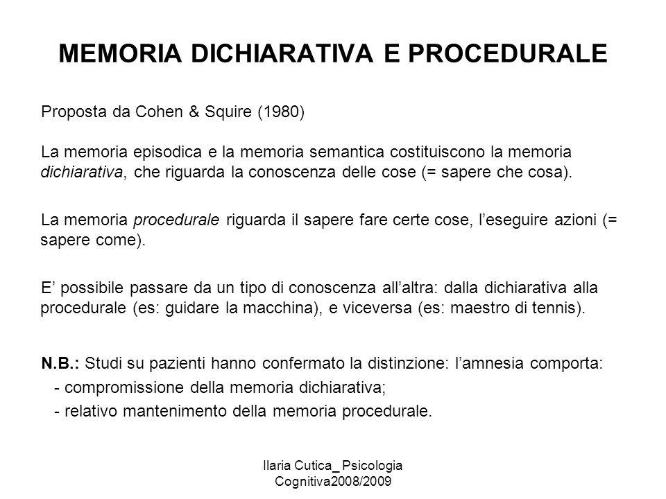 Ilaria Cutica_ Psicologia Cognitiva2008/2009 MEMORIA DICHIARATIVA E PROCEDURALE Proposta da Cohen & Squire (1980) La memoria episodica e la memoria se