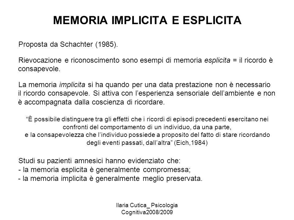 Ilaria Cutica_ Psicologia Cognitiva2008/2009 MEMORIA IMPLICITA E ESPLICITA Proposta da Schachter (1985). Rievocazione e riconoscimento sono esempi di