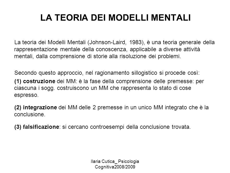 Ilaria Cutica_ Psicologia Cognitiva2008/2009 LA TEORIA DEI MODELLI MENTALI La teoria dei Modelli Mentali (Johnson-Laird, 1983), è una teoria generale