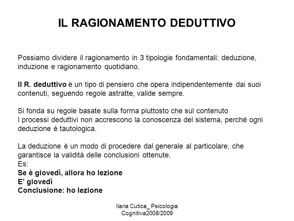 Ilaria Cutica_ Psicologia Cognitiva2008/2009 IL RAGIONAMENTO DEDUTTIVO Possiamo dividere il ragionamento in 3 tipologie fondamentali: deduzione, induz