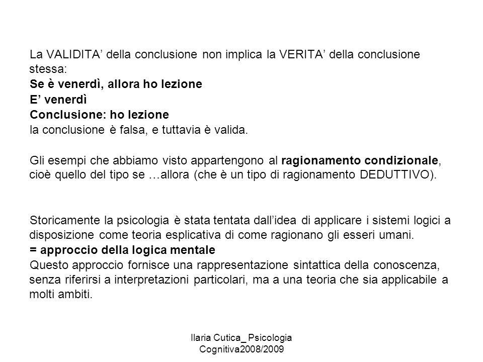 Ilaria Cutica_ Psicologia Cognitiva2008/2009 La VALIDITA' della conclusione non implica la VERITA' della conclusione stessa: Se è venerdì, allora ho l