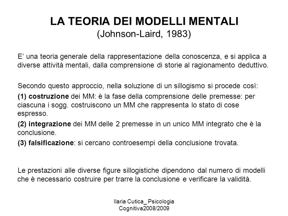 Ilaria Cutica_ Psicologia Cognitiva2008/2009 LA TEORIA DEI MODELLI MENTALI (Johnson-Laird, 1983) E' una teoria generale della rappresentazione della c