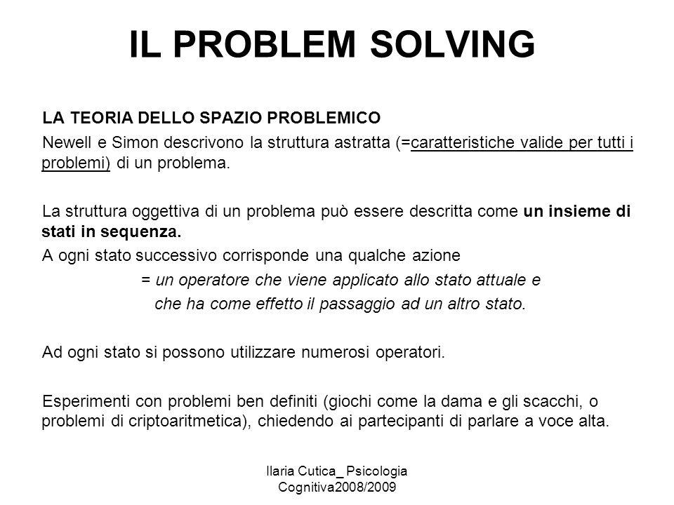 Ilaria Cutica_ Psicologia Cognitiva2008/2009 IL PROBLEM SOLVING LA TEORIA DELLO SPAZIO PROBLEMICO Newell e Simon descrivono la struttura astratta (=ca