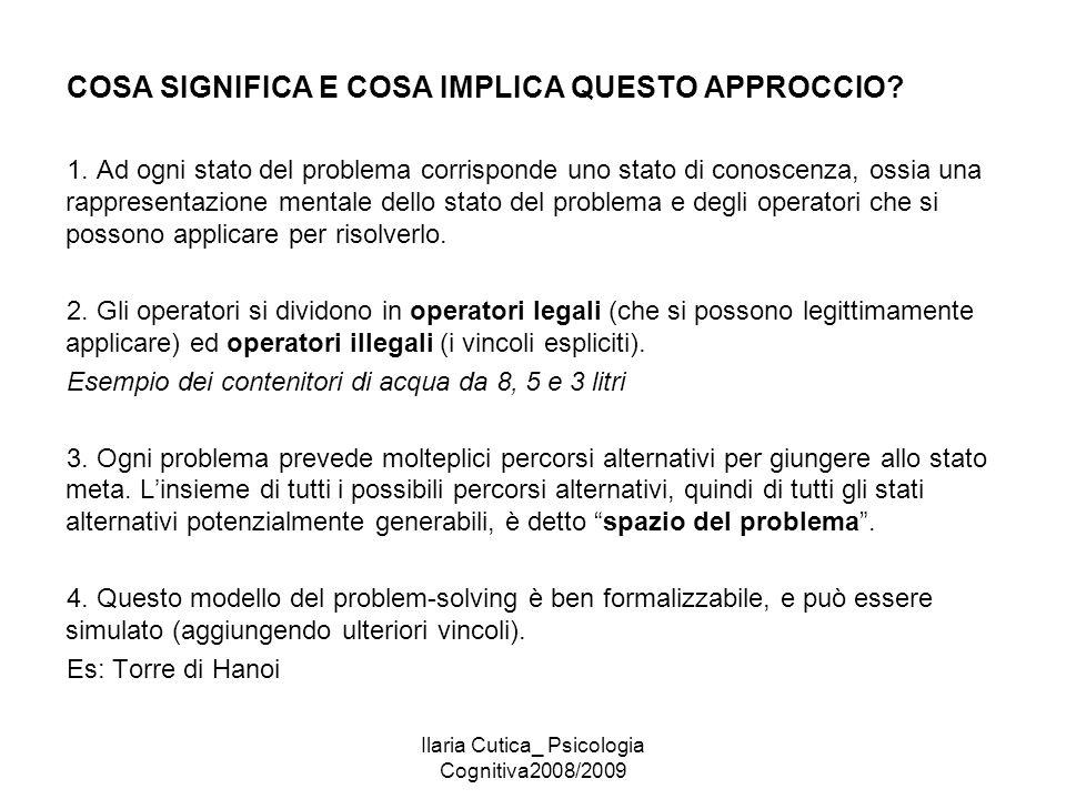 Ilaria Cutica_ Psicologia Cognitiva2008/2009 COSA SIGNIFICA E COSA IMPLICA QUESTO APPROCCIO? 1. Ad ogni stato del problema corrisponde uno stato di co