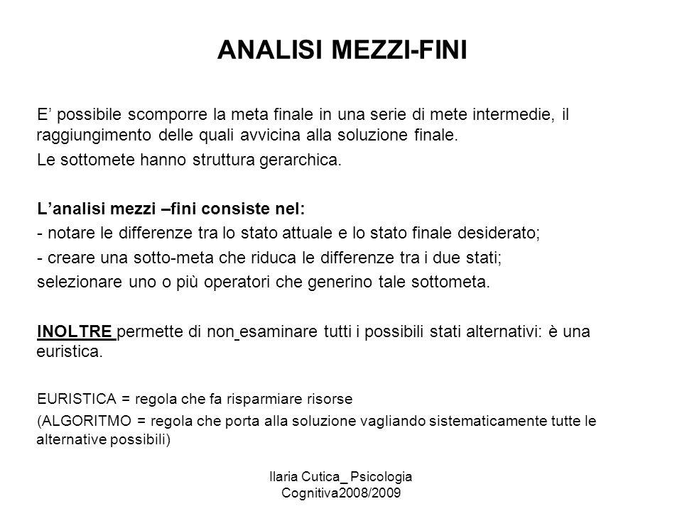 Ilaria Cutica_ Psicologia Cognitiva2008/2009 ANALISI MEZZI-FINI E' possibile scomporre la meta finale in una serie di mete intermedie, il raggiungimen