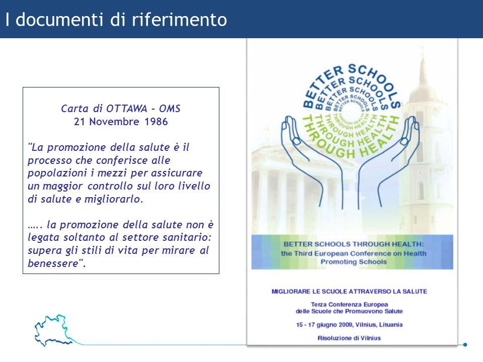 6 Bruna Baggio I documenti di riferimento Carta di OTTAWA – OMS 21 Novembre 1986 La promozione della salute è il processo che conferisce alle popolazioni i mezzi per assicurare un maggior controllo sul loro livello di salute e migliorarlo.