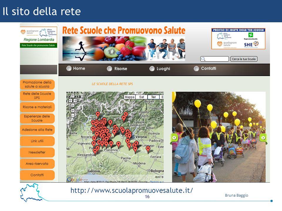 16 Bruna Baggio http://www.scuolapromuovesalute.it/ Il sito della rete