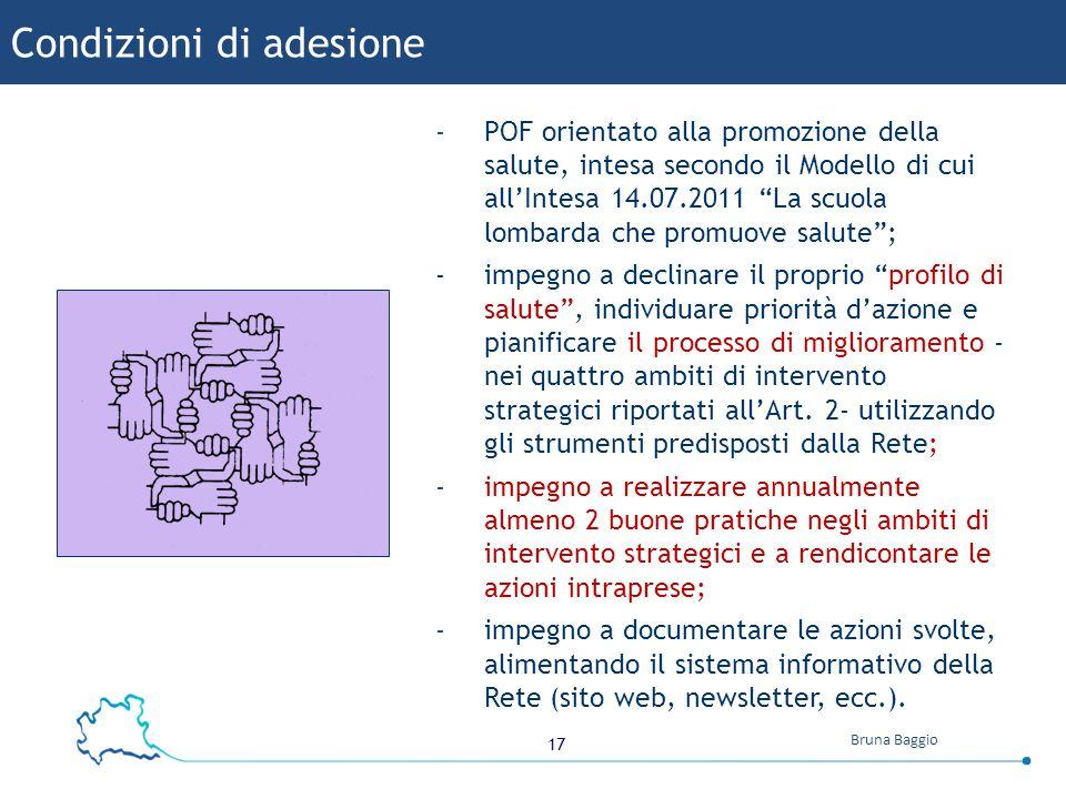 """17 Bruna Baggio -POF orientato alla promozione della salute, intesa secondo il Modello di cui all'Intesa 14.07.2011 """"La scuola lombarda che promuove s"""