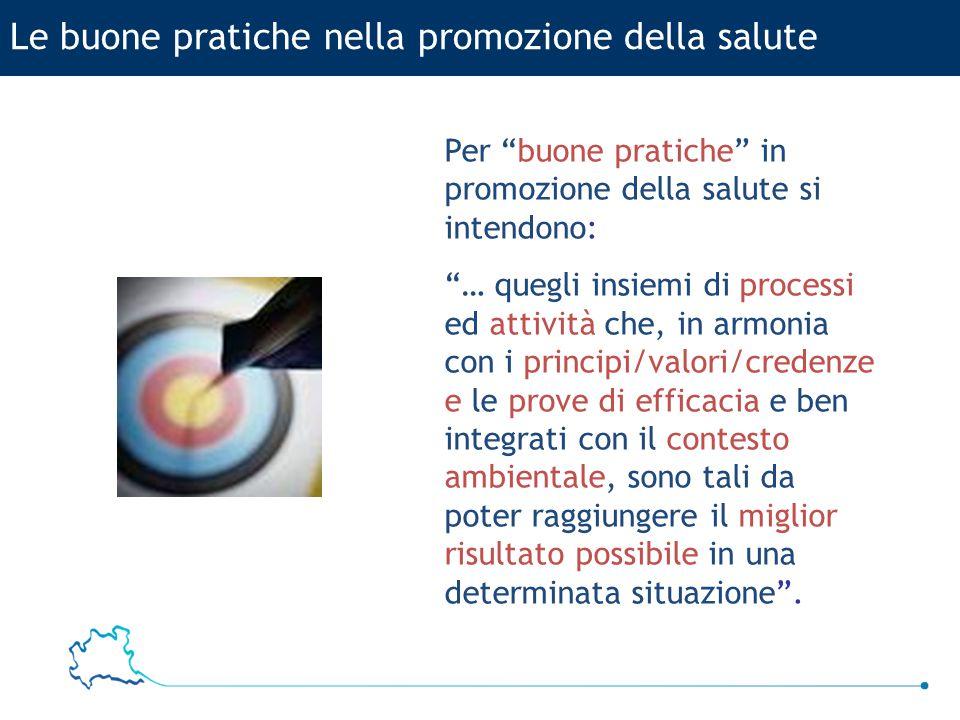 """Le buone pratiche nella promozione della salute Per """"buone pratiche"""" in promozione della salute si intendono: """"… quegli insiemi di processi ed attivit"""