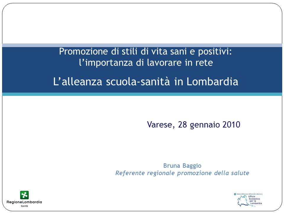 Bruna Baggio Referente regionale promozione della salute Promozione di stili di vita sani e positivi: l'importanza di lavorare in rete L'alleanza scuola-sanità in Lombardia Varese, 28 gennaio 2010