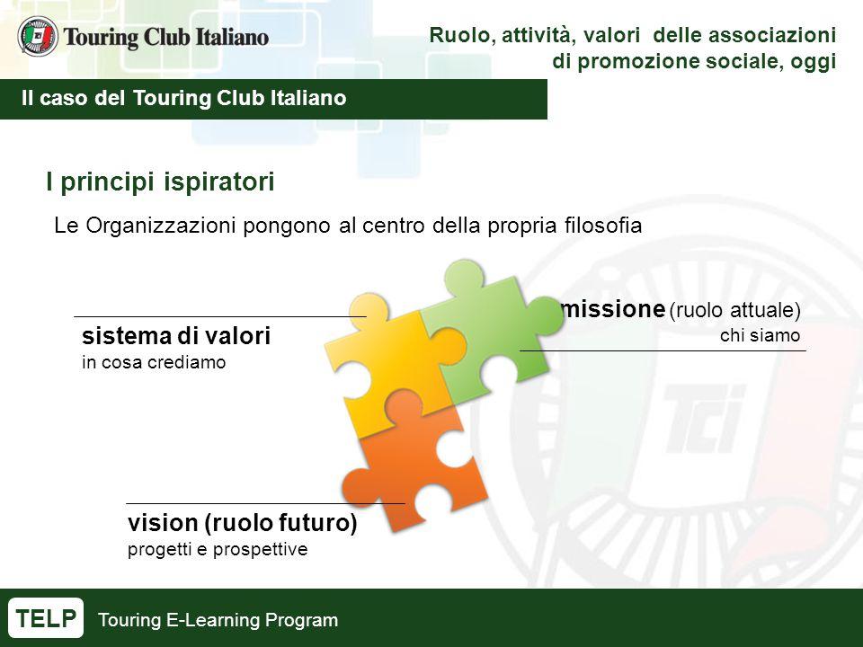 Touring E-Learning Program Ruolo, attività, valori delle associazioni di promozione sociale, oggi Il caso del Touring Club Italiano TELP I principi is