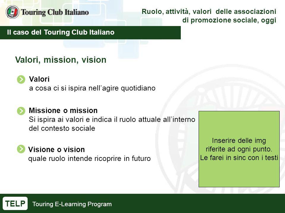 Touring E-Learning Program Ruolo, attività, valori delle associazioni di promozione sociale, oggi Il caso del Touring Club Italiano TELP Valori, mission, vision Inserire delle img riferite ad ogni punto.