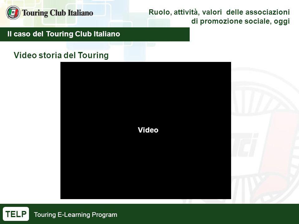 Touring E-Learning Program Ruolo, attività, valori delle associazioni di promozione sociale, oggi Il caso del Touring Club Italiano TELP Video storia del Touring Video