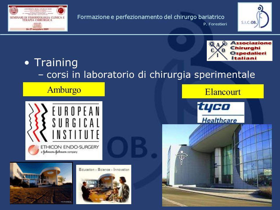Training –corsi in laboratorio di chirurgia sperimentale Amburgo Elancourt Formazione e perfezionamento del chirurgo bariatrico P. Forestieri
