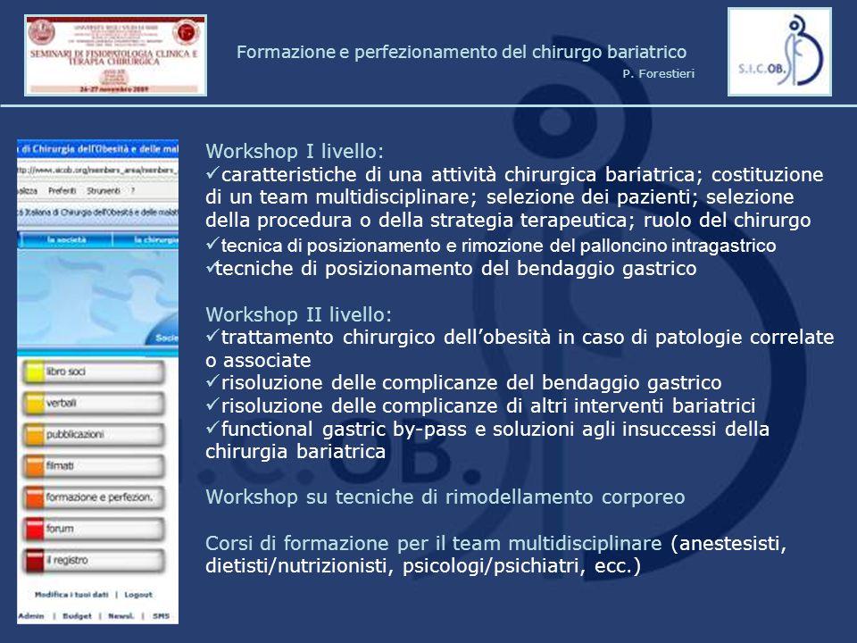 Workshop I livello: caratteristiche di una attività chirurgica bariatrica; costituzione di un team multidisciplinare; selezione dei pazienti; selezion