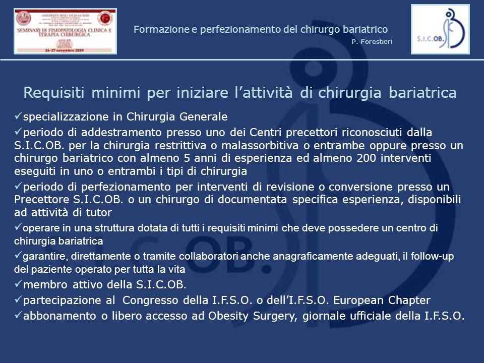 Requisiti minimi per iniziare l'attività di chirurgia bariatrica specializzazione in Chirurgia Generale periodo di addestramento presso uno dei Centri