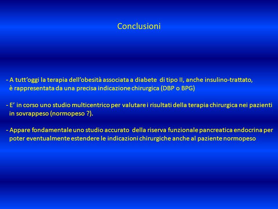 Conclusioni - A tutt'oggi la terapia dell'obesità associata a diabete di tipo II, anche insulino-trattato, è rappresentata da una precisa indicazione