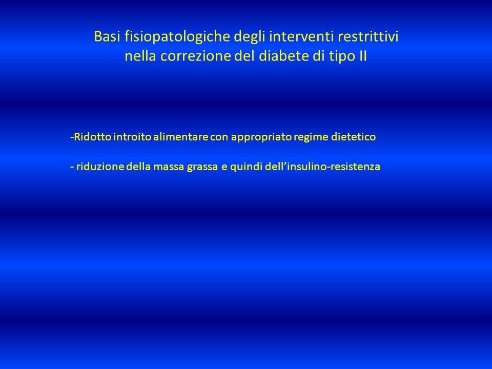 Basi fisiopatologiche degli interventi restrittivi nella correzione del diabete di tipo II -Ridotto introito alimentare con appropriato regime dieteti