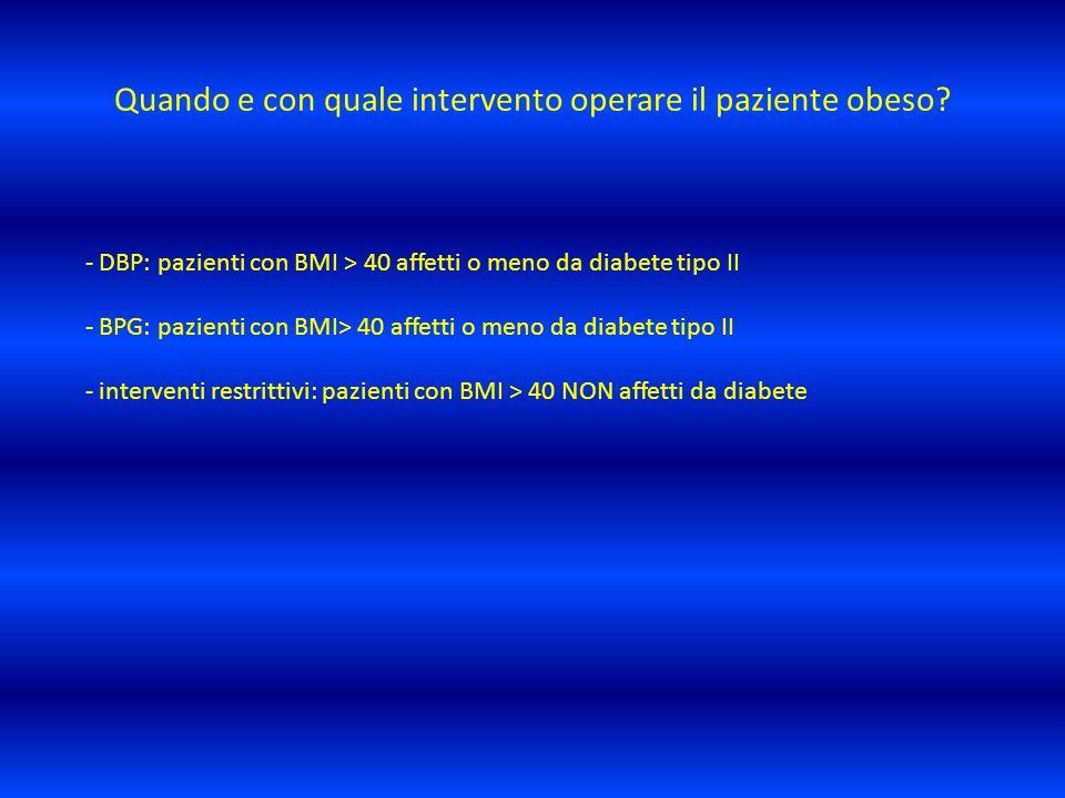 Quando e con quale intervento operare il paziente obeso? - DBP: pazienti con BMI > 40 affetti o meno da diabete tipo II - BPG: pazienti con BMI> 40 af