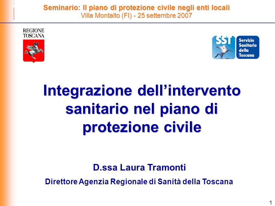 1 Integrazione dell'intervento sanitario nel piano di protezione civile Seminario: Il piano di protezione civile negli enti locali Villa Montalto (FI) - 25 settembre 2007 D.ssa Laura Tramonti Direttore Agenzia Regionale di Sanità della Toscana