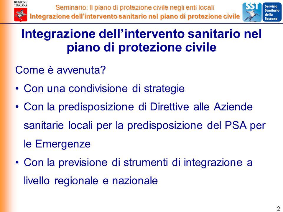 2 Integrazione dell'intervento sanitario nel piano di protezione civile Come è avvenuta.