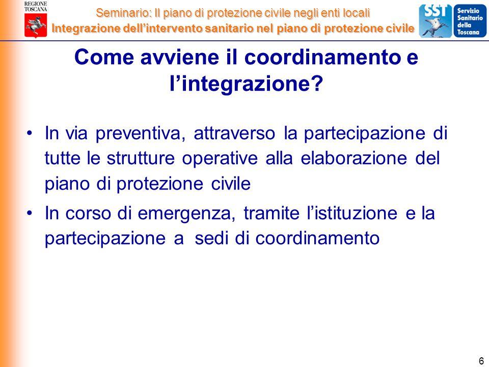 6 In via preventiva, attraverso la partecipazione di tutte le strutture operative alla elaborazione del piano di protezione civile In corso di emergenza, tramite l'istituzione e la partecipazione a sedi di coordinamento Come avviene il coordinamento e l'integrazione.