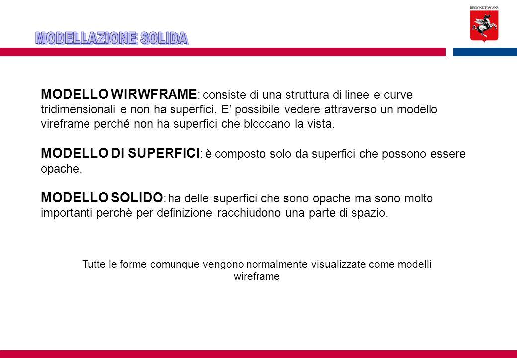 MODELLO WIRWFRAME : consiste di una struttura di linee e curve tridimensionali e non ha superfici.