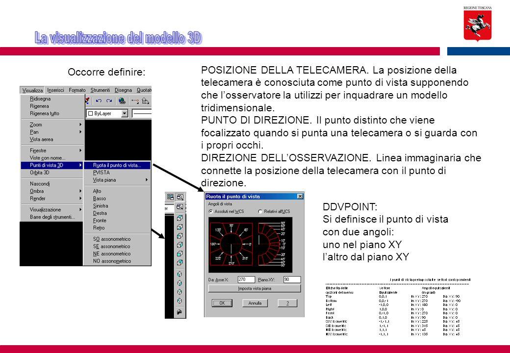 Occorre definire: POSIZIONE DELLA TELECAMERA. La posizione della telecamera è conosciuta come punto di vista supponendo che l'osservatore la utilizzi