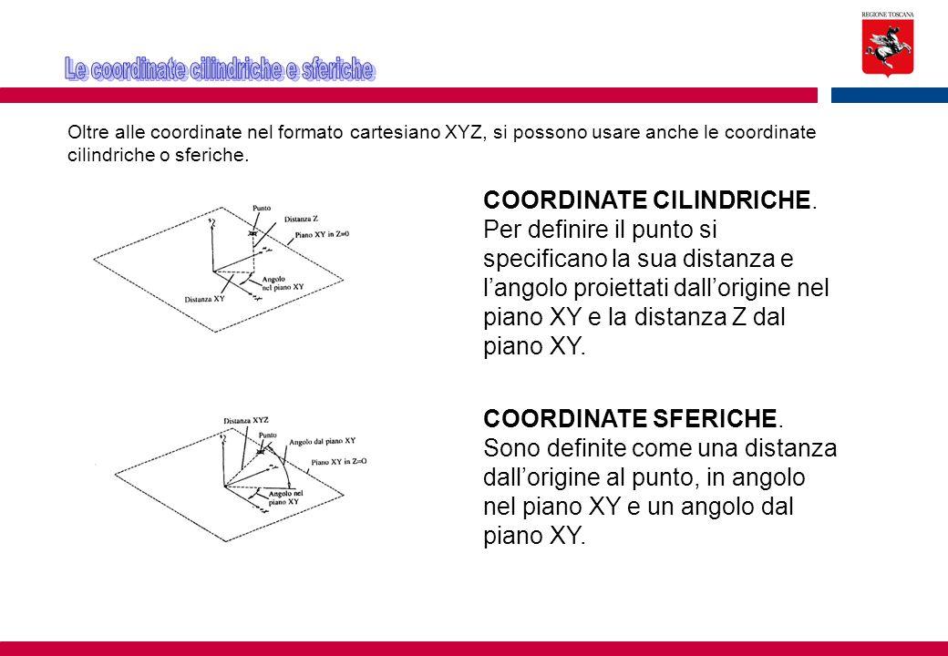 Oltre alle coordinate nel formato cartesiano XYZ, si possono usare anche le coordinate cilindriche o sferiche. COORDINATE CILINDRICHE. Per definire il